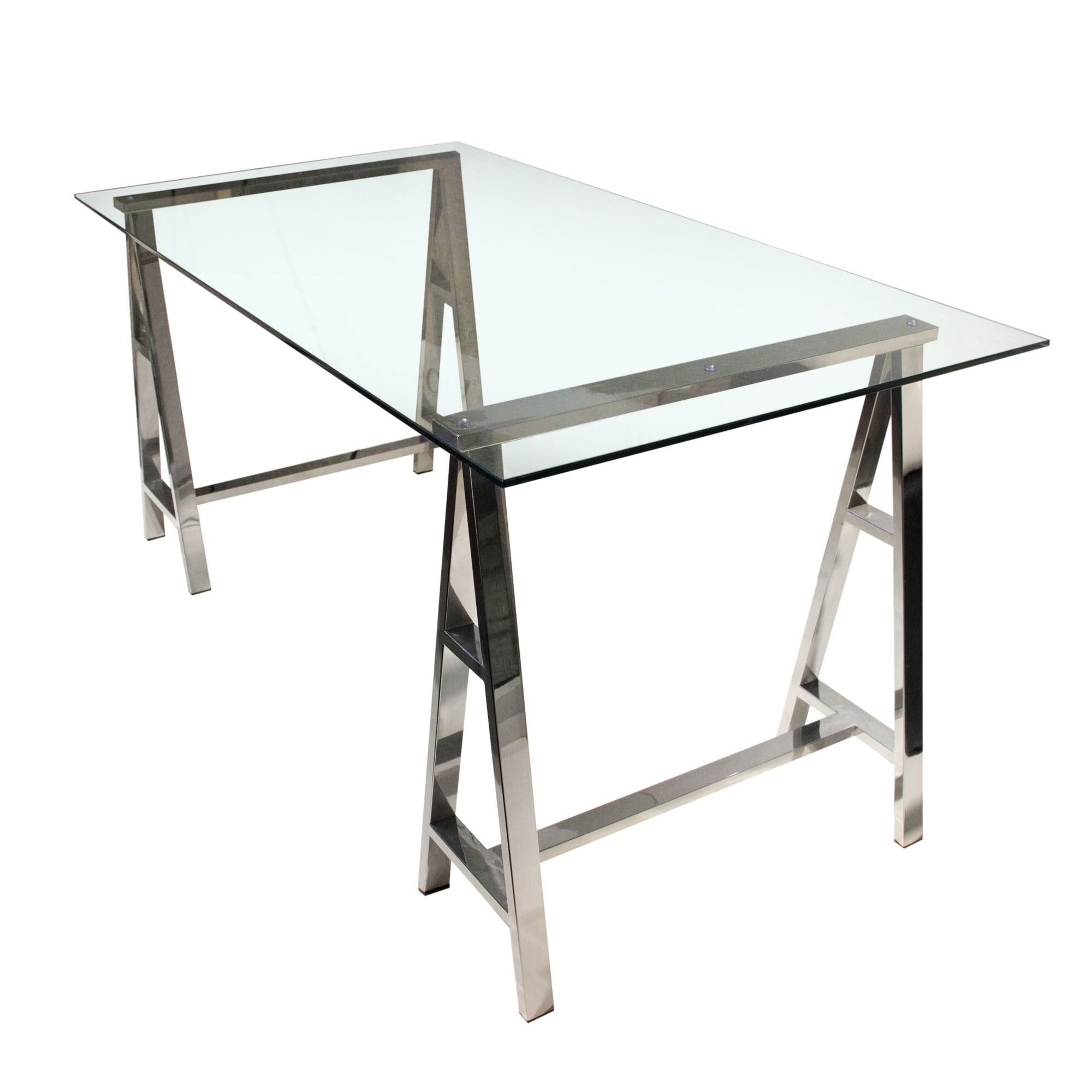 """59"""" Sawhorse Style Glass fice Desk with Stainless Steel Base"""