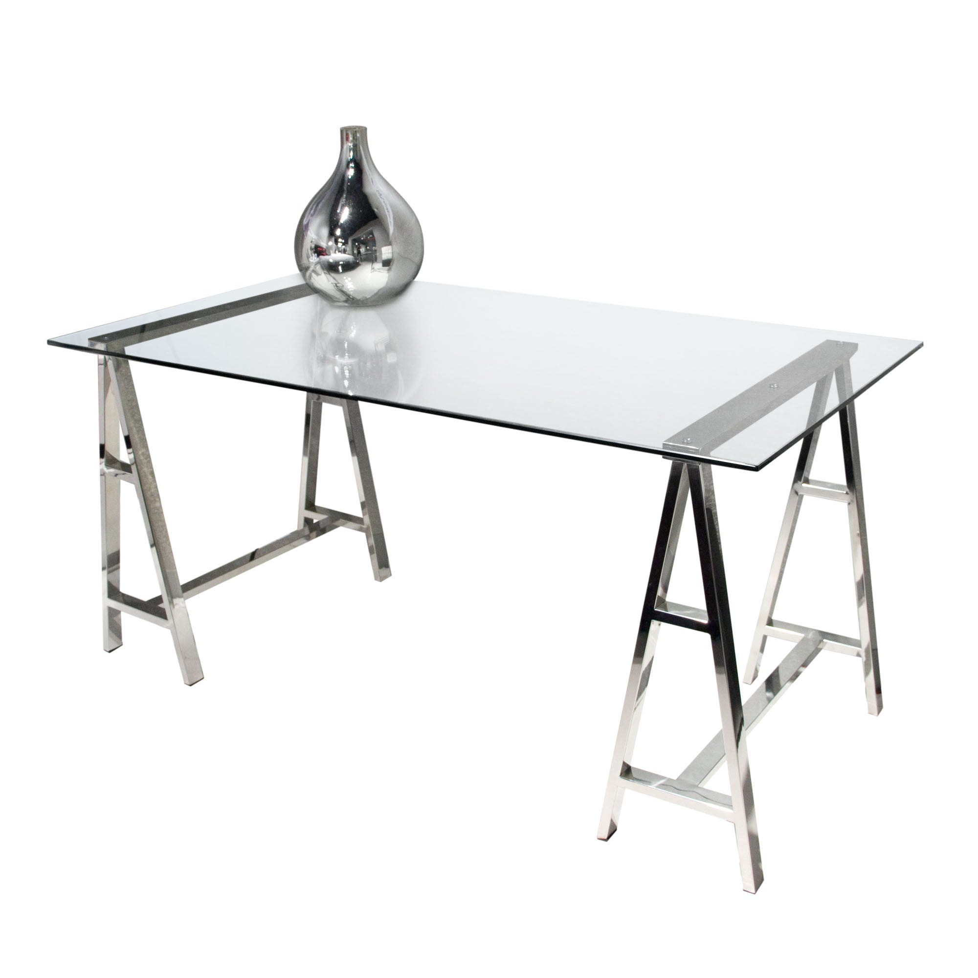 sawhorse style glass office desk with stainless steel base.  sawhorse style glass office desk with stainless steel base