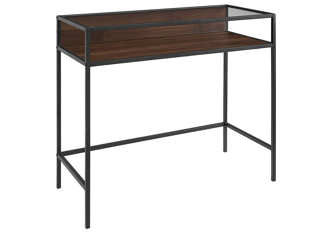 "Gorgeous 33"" Office Desk in Metal & Dark Wood w/ Glass Top"