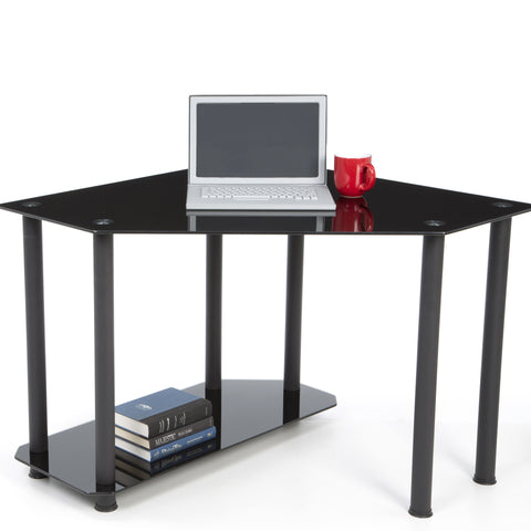 Modern Corner Black Glass Desk with Lower Shelf