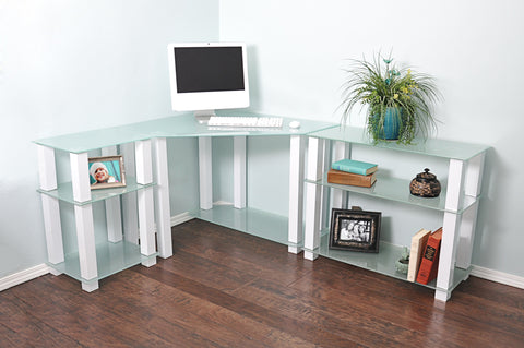 Modern L-shaped Corner White Glass Desk with Shelved Extensions