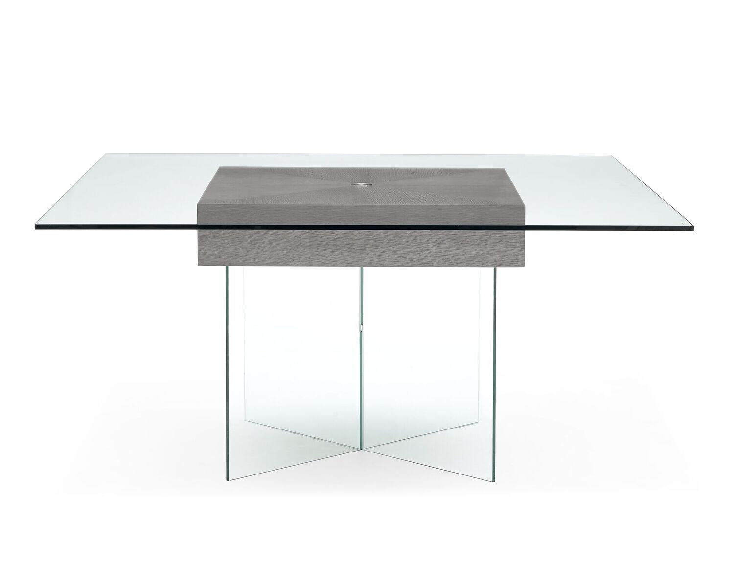 "Square 63"" Tempered Glass Meeting Table w/ Oak Center"