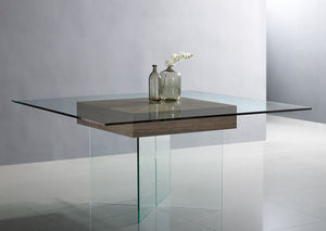 "Square 63"" Tempered Glass Meeting Table w/ Walnut Center"