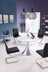 "43"" Round Artificial Marble and Stainless Steel Meeting Table"