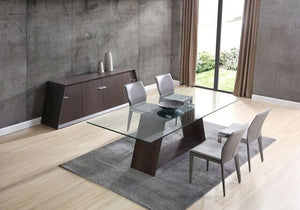 "90"" Striking Glass-Top Conference Table Featuring Wenge Oak Veneer"