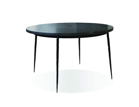 Sleek Black Marble and Iron Meeting Table