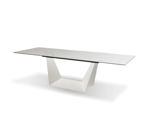 Sturdy Glass and Metal Conference Table or Executive Desk with Marble Vein Finish
