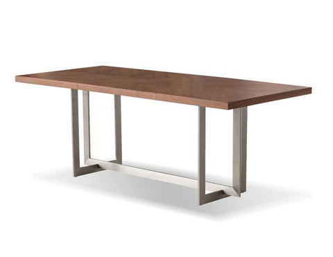 Modern Walnut Veneer Conference Table with Brushed Stainless Steel Base