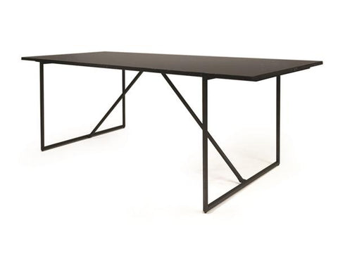 Black Marble and Aluminum Conference Table or Executive Desk