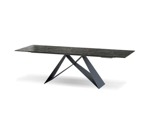Extending Black Conference Table or Executive Desk with Ceramic Top