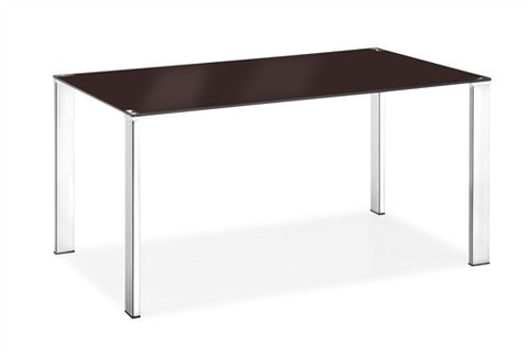 Glass and Chrome Modern Desk in Espresso