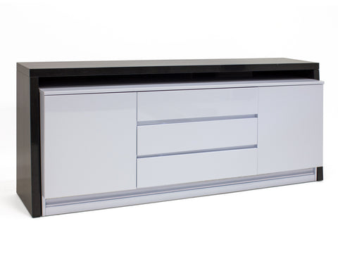 "81"" Chic Storage Credenza in Gray Oak & Light Gray Lacquer"