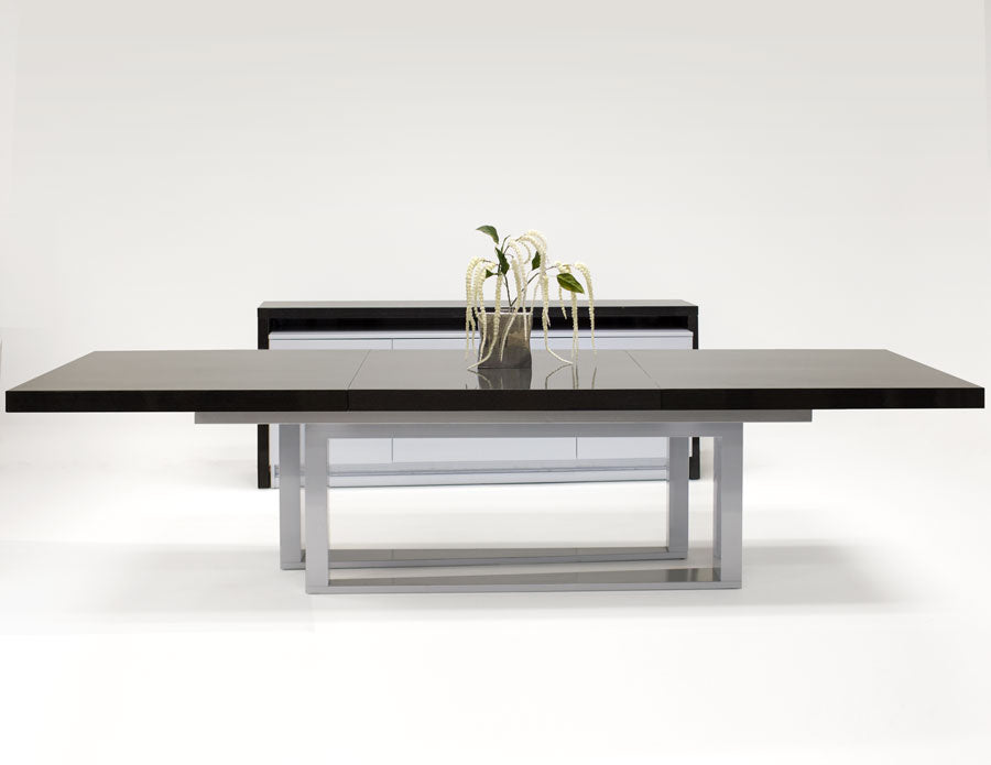 "Elegant-Chic Gray Oak Lacquer Conference Table (Extends from 85"" to 125"")"