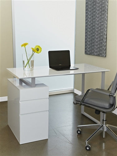 "Ergo Office Tribeca Contemporary 48"" Desk and Drawers in White"