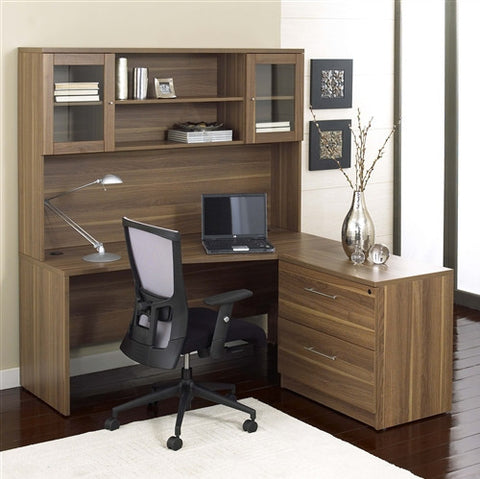 "63"" Modern Desk plus Included File Cabinet and Hutch in Walnut"