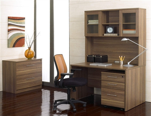 "Modern Walnut 48"" Desk with Included Hutch and Mobile Pedestal"