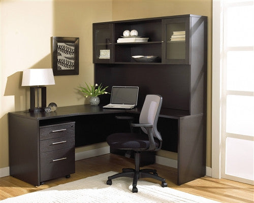 Modern L-shaped Desk with Included Hutch & Mobile Pedestal in Espresso
