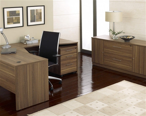 Modern Walnut L-shaped Desk with Included Mobile Pedestal & Credenza