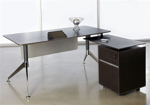 L-shaped Desk with Integrated File in Espresso from Ergo Office