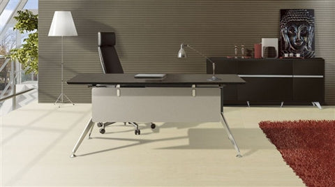 "Modern 71"" Desk with Included Matching 63"" Credenza in Espresso"