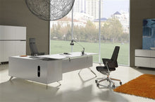 Load image into Gallery viewer, Modern White Lacquer L-shaped Executive Desk (Right Return)
