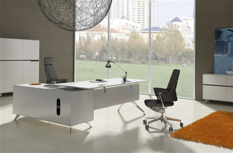 Modern White Lacquer L-shaped Executive Desk with Integrated Storage