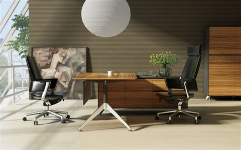 Modern L-shaped Office Desk with Integraged Storage in Zebrano Wood
