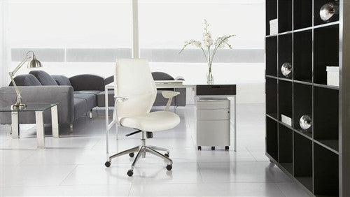 Modern White Leather Office Chair with Aluminum Base