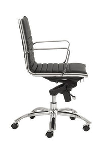 Modern Black Leather & Chrome Low Back Office Chair