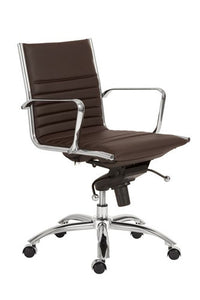 Modern Brown Leather & Chrome Low Back Office Chair