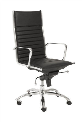 Modern Black Leather & Chrome High Back Office Chair