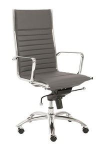 Modern Gray Leather & Chrome High Back Office Chair