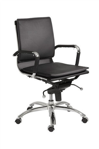 Modern Low Back Black Leather & Chrome Office Chair