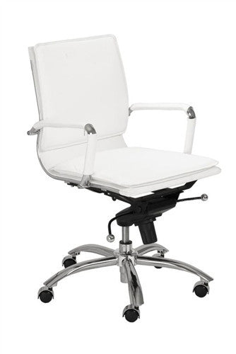 White & Chrome Low Back Modern Office Chair