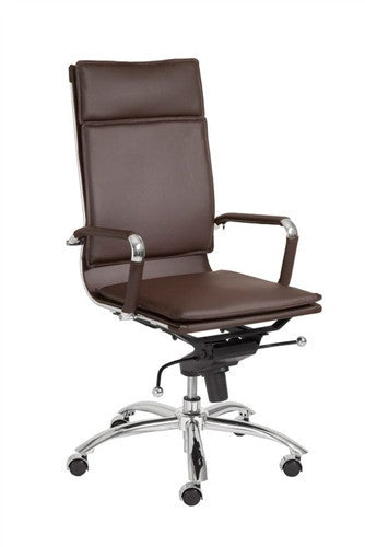 Modern High Back Brown Leather & Chrome Executive Chair