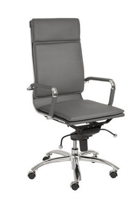 High Back Gray Leather & Chrome Modern Office Chair