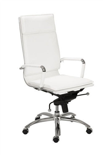 White & Chrome High Back Modern Executive Office Chair