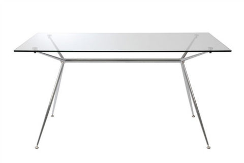 "60"" Premium Clear Glass Executive Desk with Elegant Chromed Steel Frame"