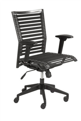 High-Back Office Chair in Black with Bungee Supports & Adjustable Armrests