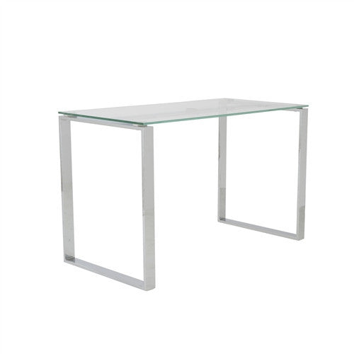 "Elegant Clear Glass & Chrome 48"" Office Desk"