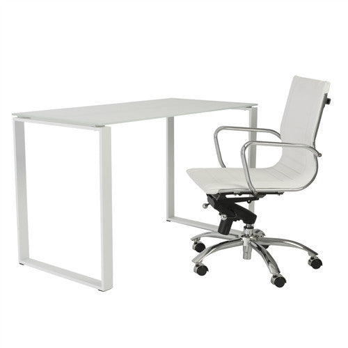 "48"" Modern White Glass Office Desk with Steel Frame"