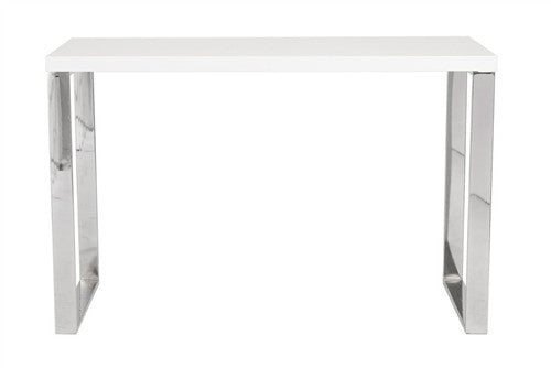 "Classy 48"" White Lacquer and Chrome Office Desk"