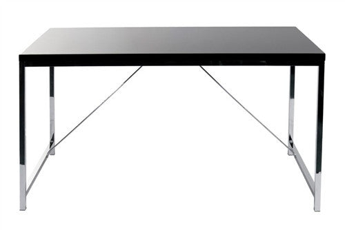 "53"" Modern Black Lacquer & Chrome Executive Desk"