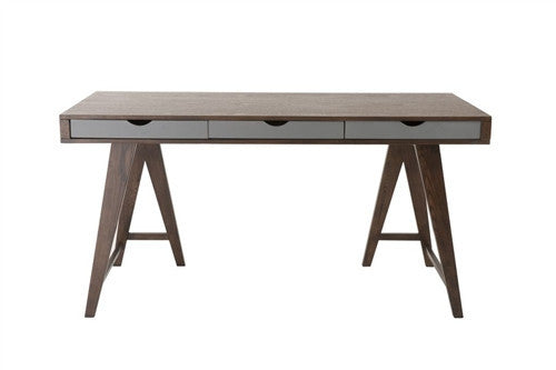 "Walnut and Gray 59"" Contemporary Executive Desk"