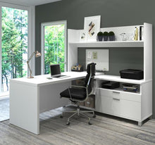 Load image into Gallery viewer, Spacious L-Shaped Office Desk with Hutch in White