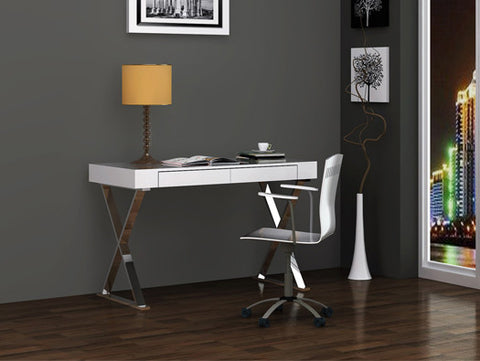 "47"" Modern White Lacquer & Stainless Steel Desk with Drawer from WhiteLine"