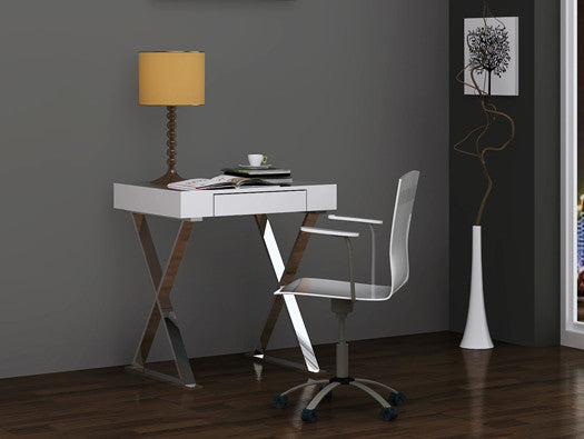 "27"" Small Modern White Lacquer Desk with Stainless Steel Frame"