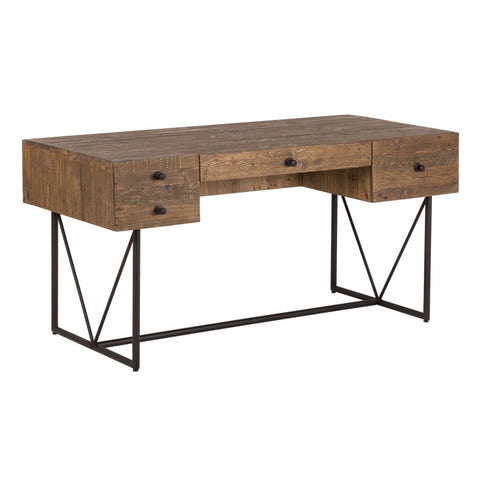 "63"" Modern Solid Wood Desk with Steel Legs"