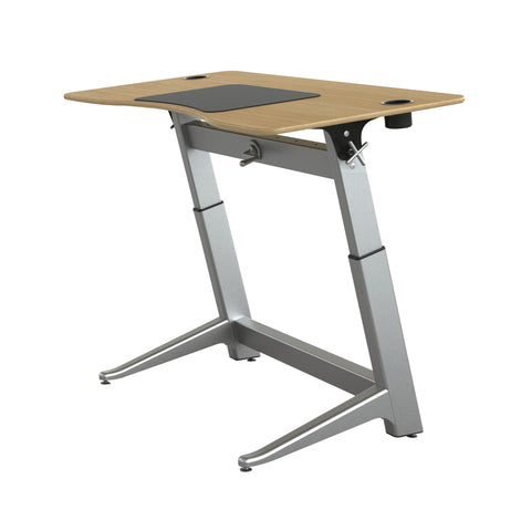 "60"" Standing Height Desk with Oak Top and Built-In Cup Holders"