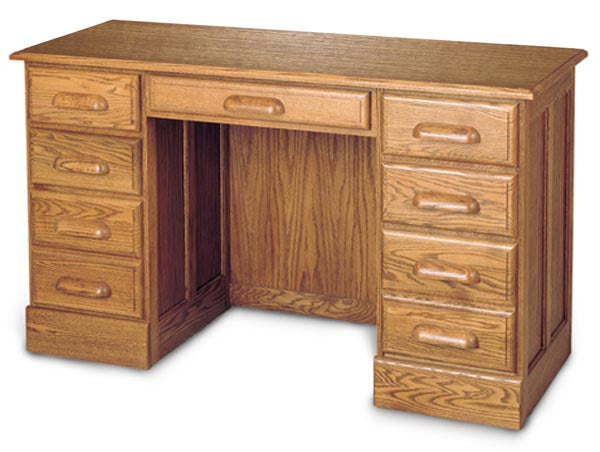 "54"" Solid Oak Desk with Drawers and Finish Options"